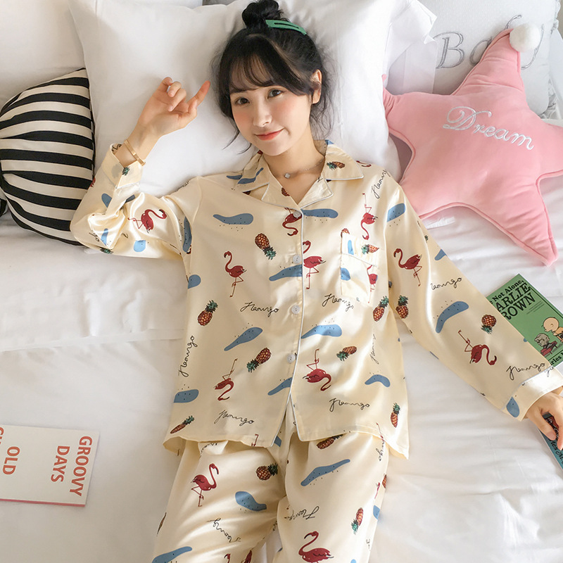 Pajamas Women's Spring And Autumn Thin Flamingo Viscose Long Sleeve Two-Piece Set Silk Cute Students Large Size Home Wear