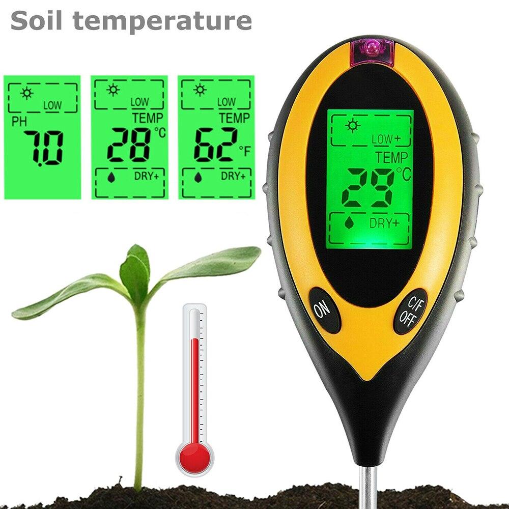 4 in 1 Digital PH Meter PH Tester Soil Water Moisture Test Meter Kit Temperature Sunlight Tester for Garden Farm Plant Seeding