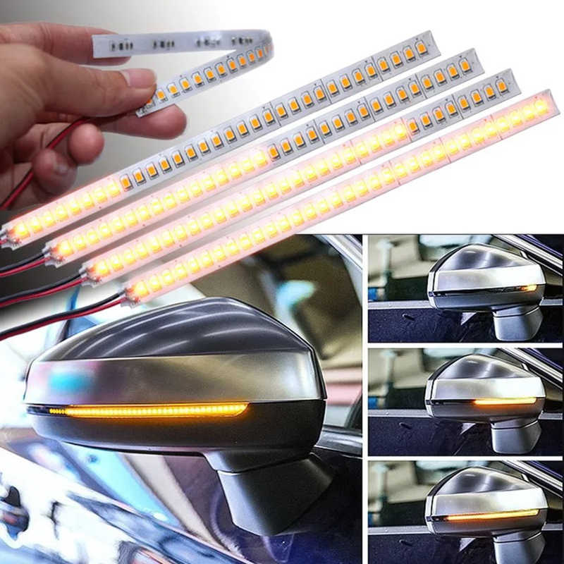 2 uds espejo retrovisor para coche, lámpara indicadora DRL Streamer, tira de señal de giro variable, lámpara LED para coche, fuente de luz, intermitentes para coches