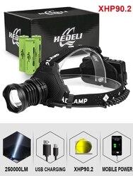 300000 лм xhp90.2 светодиодный головной светильник xhp90 Высокая мощность Головной фонарь usb 18650 перезаряжаемый xhp70 головной светильник xhp50.2 зум нало...