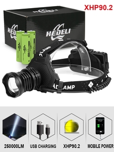 300000 lm xhp90.2 led headlight xhp90 high power head lamp torch usb 18650 rechargeable xhp70 head light xhp50.2 zoom headlamp(China)