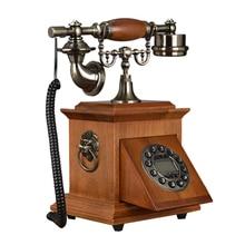 Teléfono Fijo retro cuadrangular casa Oficina hotel hecho de madera conjunto antiguo llave clásica vintage fija llamador ID