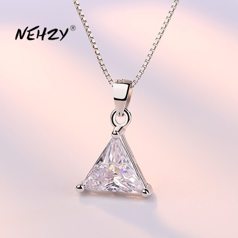 Nehzy 925 Sterling Silver Necklace Pendant Fashion Jewelry New Style Woman Triangle Crystal Zircon Necklace Length 45cm Best Offer E322e Cicig