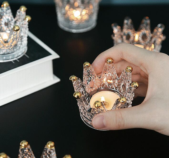 Crown Candle Holder Wedding Candlestick Fine Transparent Crystal Glass Candlestick Dining Home Decor