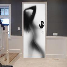 3D Self adhesive Door Stickers Women's Three-dimensional Contour PVC Stickers WallStickers Bedroom Decoration Waterproof Sticker