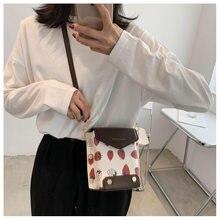 Saco das mulheres morango selvagem bolsas popular nova moda de um ombro mensageiro saco net vermelho do telefone móvel pequeno quadrado