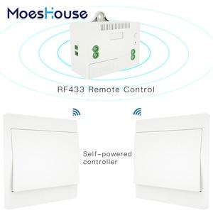 Image 1 - Interruptor inalámbrico RF433 sin batería, interruptor de luz de pared con Control remoto, autoalimentado, sin cables, transmisor de Panel de pared necesario.