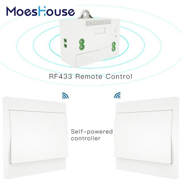 Interruptor inalámbrico RF433 sin batería, interruptor de luz de pared con Control remoto, autoalimentado, sin cables, transmisor de Panel de pared necesario.