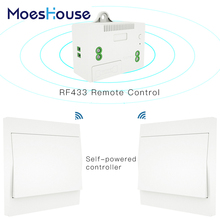 RF433 Wireless Switch No Battery Remote Control Wall Light Switch Self Powered No Wiring Needed Wall Panel Transmitter.