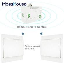 RF433 אלחוטי מתג אין סוללה שלט רחוק קיר אור מתג עצמי מופעל לא חיווט צורך קיר פנל משדר.