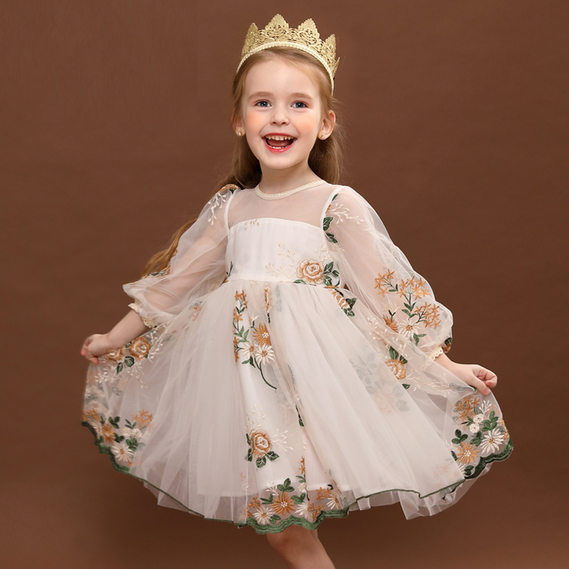 Spring & Autumn Princess Dresses for Girls Clothes Long Sleeve Embroidery Flower Birthday Party Costume Cute Kids Family Outfits