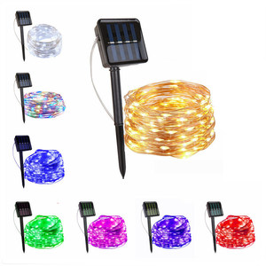 100/200/300 led solar LED Light Waterproof LED Copper Wire String Holiday Outdoor led strip Christmas Party Wedding Decoration