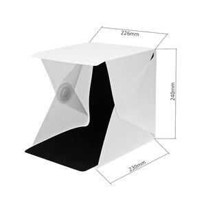 """Image 4 - Mini caja de luz plegable de 24cm / 9 """"para estudio de fotografía, caja de luz LED suave para habitación, caja de fondo de foto de cámara, Kit de tienda de iluminación"""
