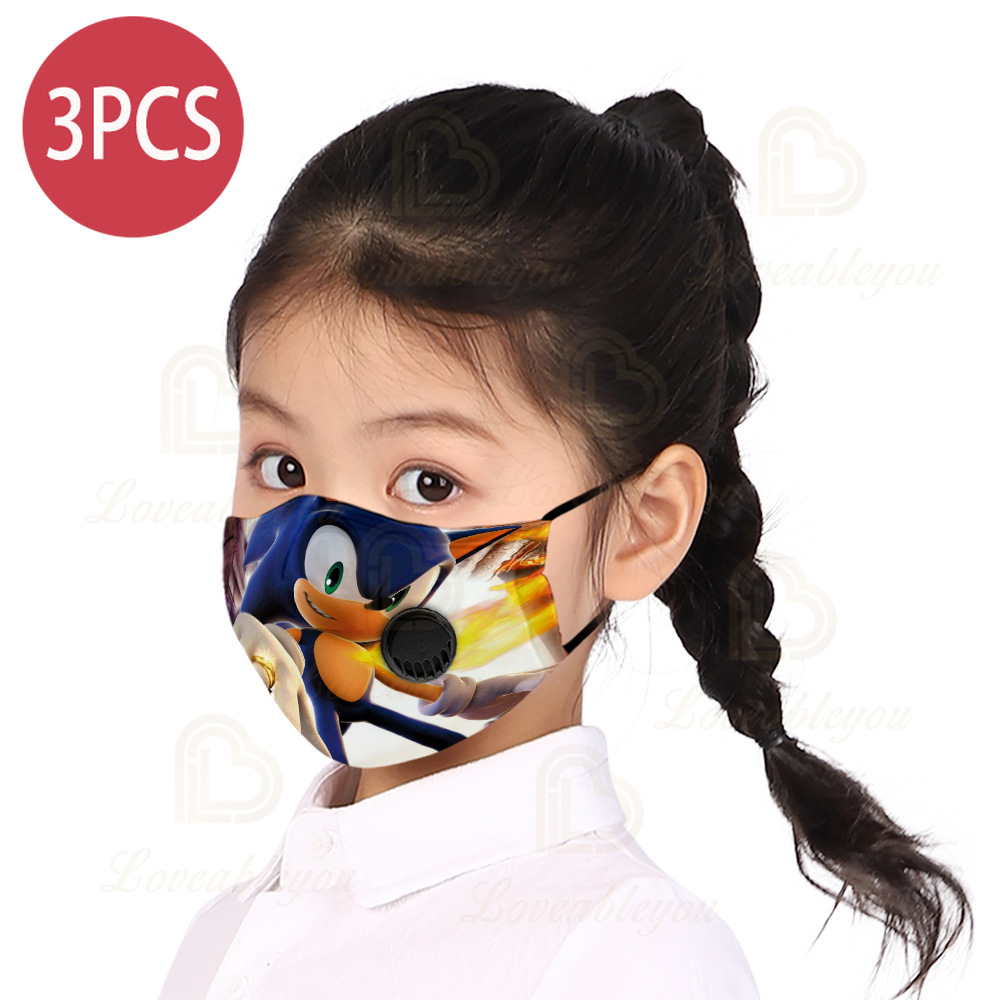 Sonic Printed Children Face Masks Anti Smog Pm2.5 Filter With Valve Cloth Masks Non-disposable Washable