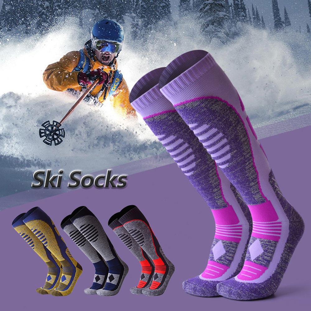 Women/Man Winter Ski Snow Sports Socks Thermal Long Ski Snow Walking Hiking Sports Towel Socks Free Size