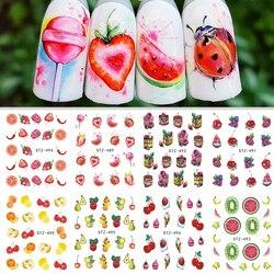 1 лист наклейка для водяного переноса изображения на ноготь наклейки фруктовый крем торт кошка красота украшения Дизайн DIY Цвет татуировки ...