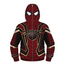 Kids spider Hoodies Peter Parker Iron spider man Cosplay costume super hero full cover head sweatshirt for Halloween Party(China)