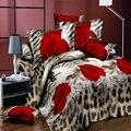 Комплект постельного белья из 4 предметов с 3D цветочным рисунком  пододеяльник с цветами  постельное белье с двойной простыней  летнее одеял...