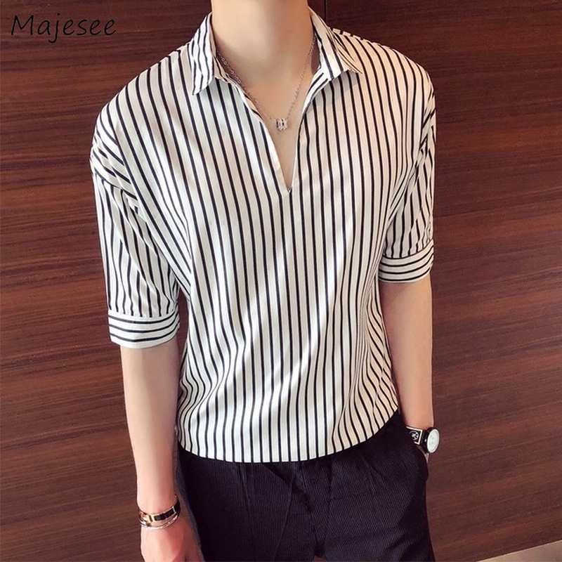 Shirts Men Summer 5 Quarter Sleeve Comfortable High Quality Mens Daily Leisure Loose Simple All Match Striped Shirt Fashion Chic