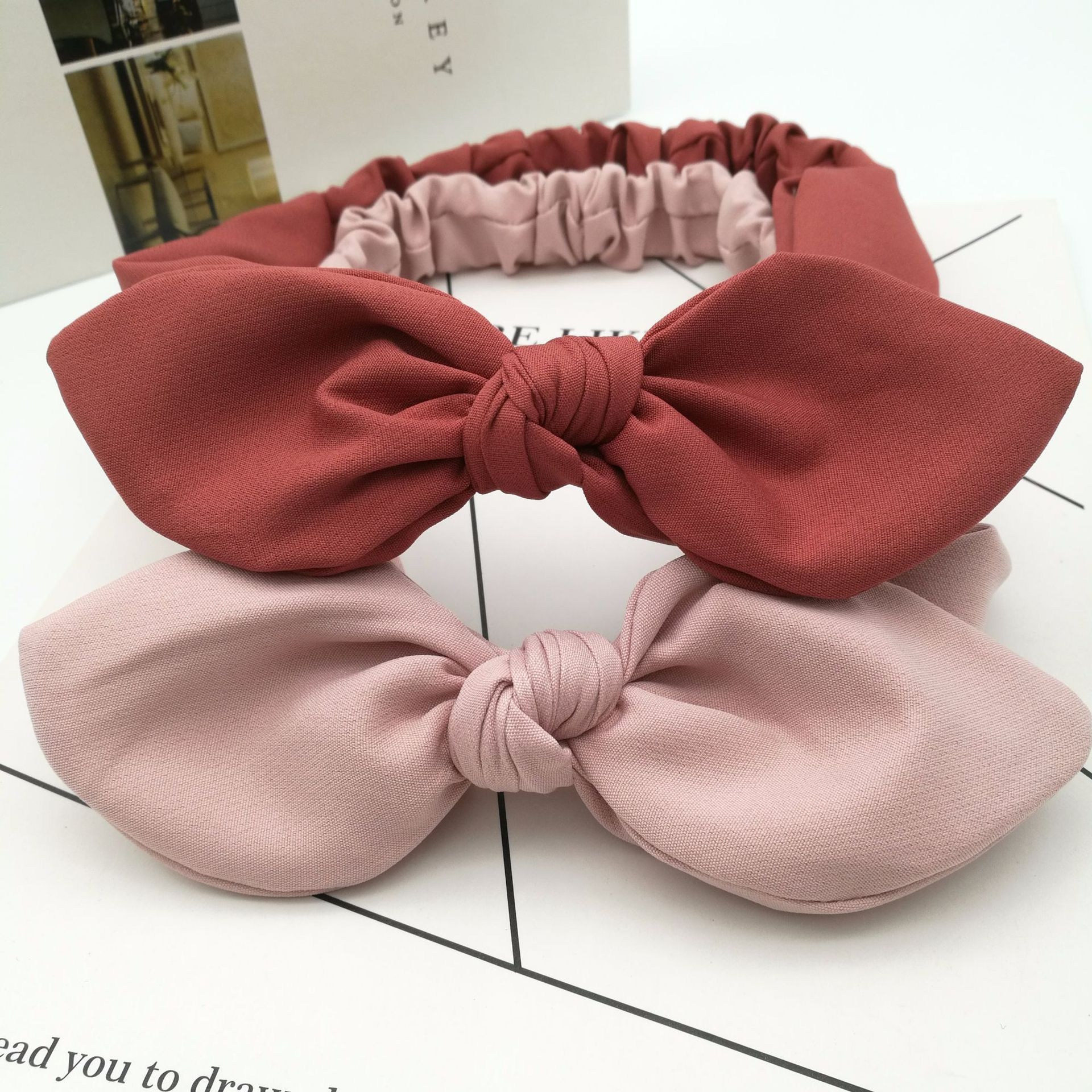 1PCS Solid Color Bunny Ears Headband Women Knotted Bow Hairband Female Stretch Rabbit Ear Hair Band Headdress Hair Accessories