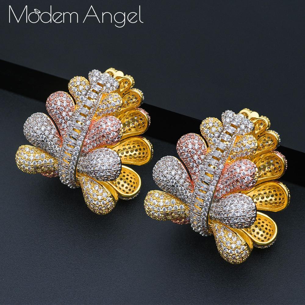 ModemAngel feuilles grande fleur de luxe géométrique CZ cubique Zircon cuivre Nigeria boucles d'oreilles pour femmes boucles d'oreilles de mariage moda