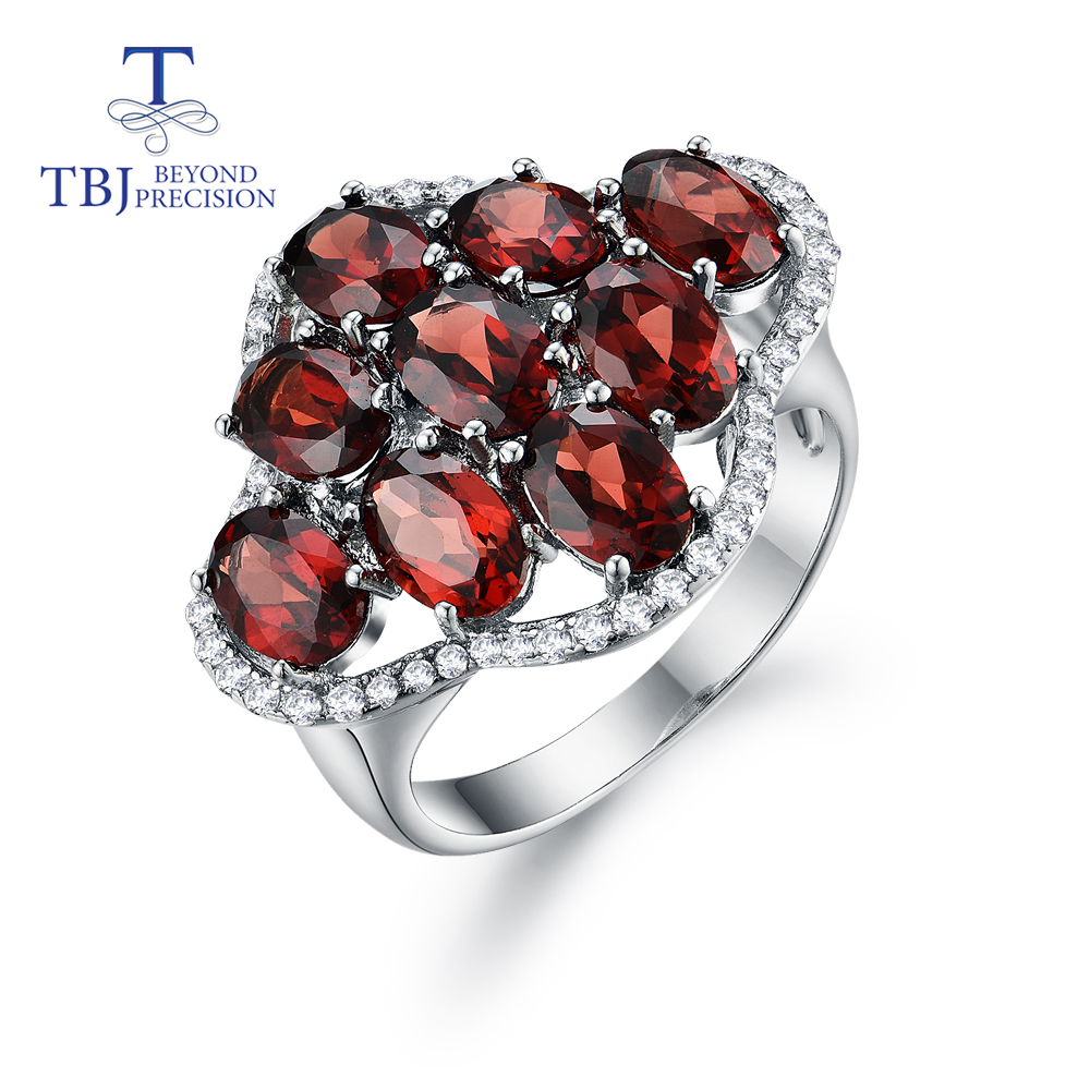 Natural Gemstone Garnet Ring 925 Sterling Silver Creative Fine Jewelry For Women Wife Anniversary Nice Gift Tbj Promotion