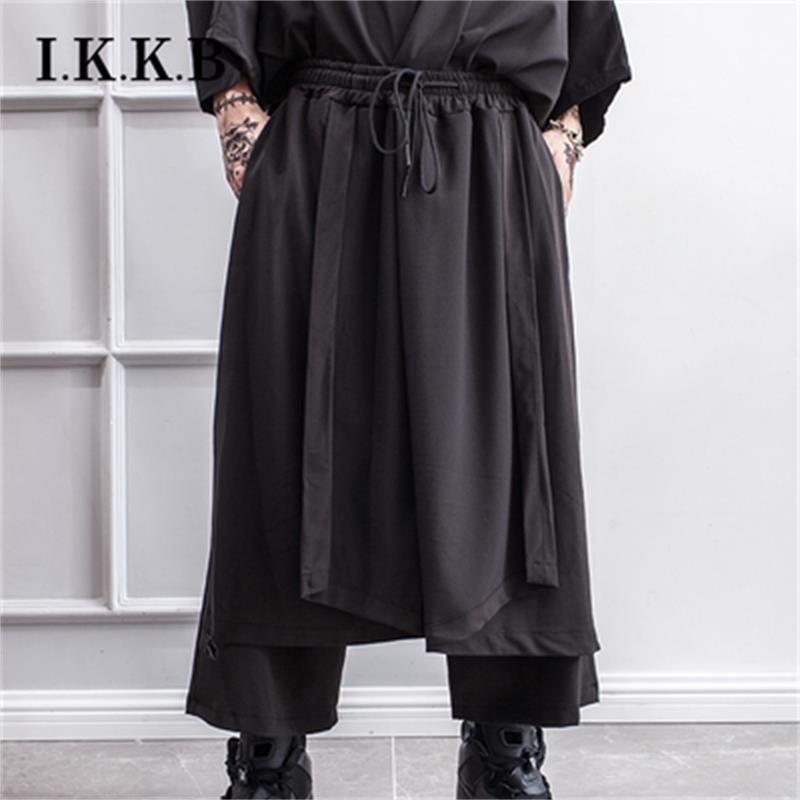 Yoshi Yamamoto style wide leg trousers irregular skirt dark department fake two culottes men Japanese hairdresser fashion men's
