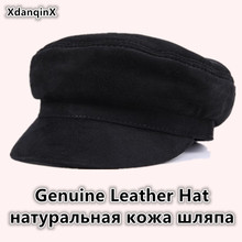 XdanqinX 2019 Autumn New Genuine Leather Hats Mens Flat Cap Sheepskin Army Military Hat Bone Fashion Youth Caps