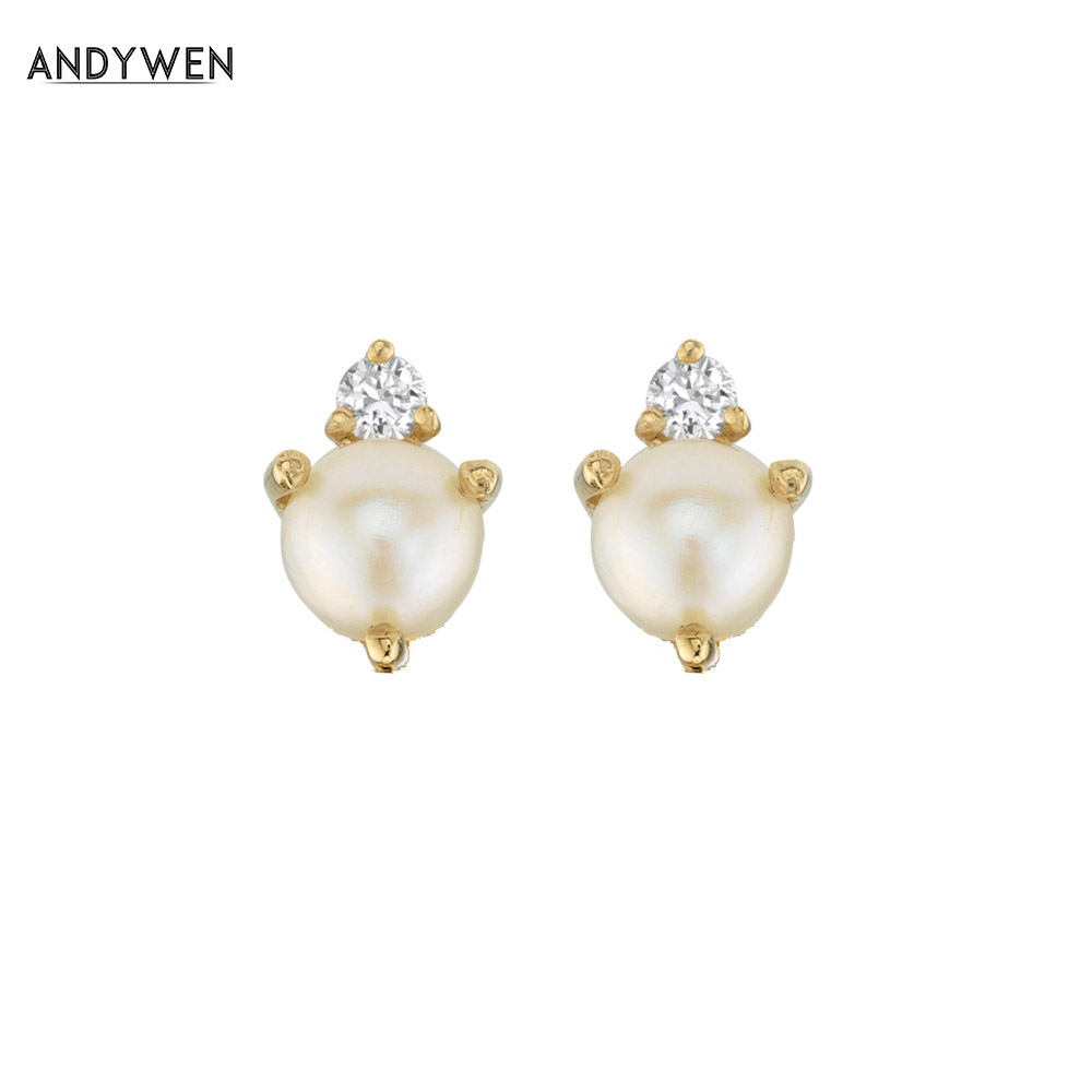 ANDYWEN 925 Sterling Silver Mini Pearl Cluster Stud Earring Luxury Clear CZ Gold Luxury Valentiens Gift Women Jewelry