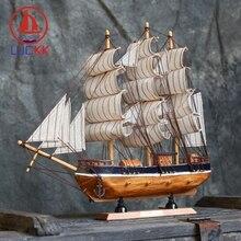 LUCKK 33CM Retro Wooden SailBoat Figurine Classic Home Interior Decor Miniature Wood Crafts Creative Cannon Ships Model Gifts