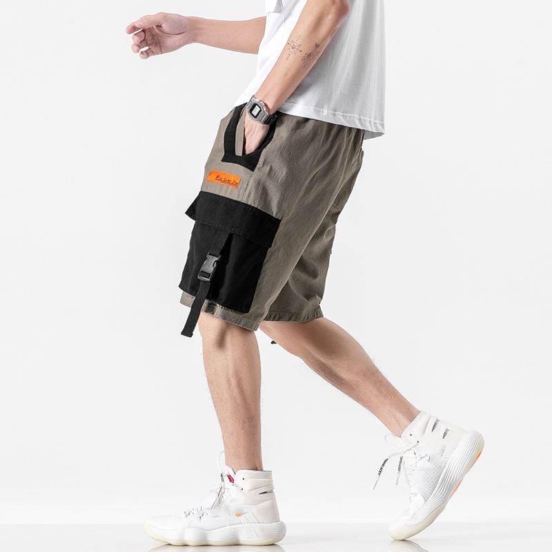 Korea 2020 Summer Men Cargo Shorts Casual Multi Pocket Short Pants Hip Hop Streetwear Punk ROCK Trouers