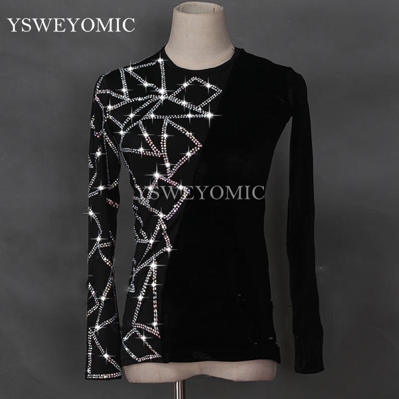 Noir Latin danse chemises hommes Flamenco à manches longues col rond Sequin moyen-orient diamant hauts salle de bal chemise vêtements de Performance