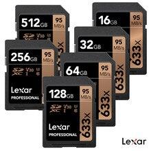 ¡50% de descuento! Lexar-tarjeta SD SDXC profesional, 95 M/s, 256GB, 512GB, U3, 64G, 32G, 16G, SDHC, C10, 633X, para cámara Digital SLR/HD