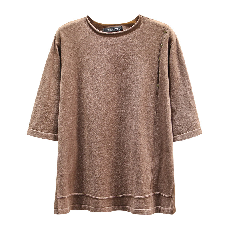 Half Sleeve Knitwear Women 2020 Spring O-neck Loose Tops Female Casual Simple Pullover Plus Size Undershirt F11-1895