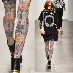 الخراب المرأة الجوارب الرجعية الصورة بناء اللون منزل المطبوعة جوارب طويلة الإناث فتاة الجوارب 140D