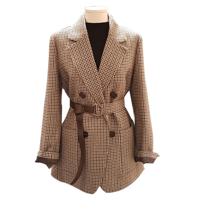 autumn winter vintage plaid woolen blazer women double breasted straight belted suit jacket