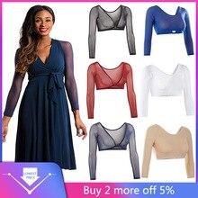 Women Both Side Wear Sheer Plus Size Three Quarter V-Neck Seamless Arm Shaper Crop Top Shirt Blouses#25