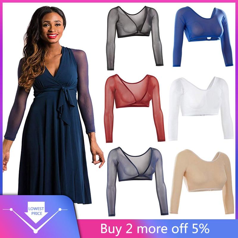Women Both Side Wear Sheer Plus Size Three Quarter V-Neck Seamless Arm Shaper Crop Top Shirt Blouses  #25
