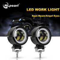 Nlpearl 3 Inch Round Led Fog Lights for Cars 4×4 SUV 20W Car Light with LED Angel Eyes for Offroad Truck Tractor Spot Beam 9-32V