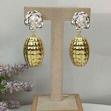Yuminglai 24K Dubai altın küpe brezilyalı küpe kadınlar için FHK10424