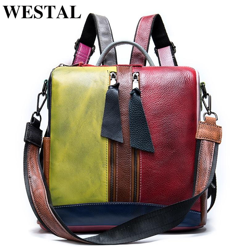 WETSAL Backpack Women Genuine Leather Convertible Backpacks Female Women's Leather Backpack School Bag For Girl Mochila Feminina