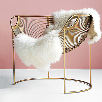 Metal Frame Leisure Chair Balcony Apartment Single Sofa Modern Iron Hollow Lounge Chair Home Furniture Bedroom Makeup Seat Chair