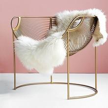 Nordic Single Sofa Chair Luxury Balcony Apartment Leisure Chair Iron Hollow Modern Minimalist Lounge Chair Bedroom Makeup Chair