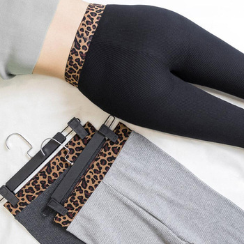 Fuya same Leggings for women wearing thin thread vertical bar grey embroidery leopard print waist nine point small leg autumn image