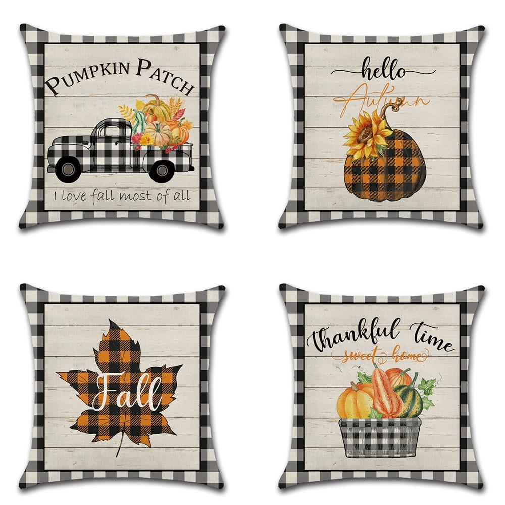 Dia de ação de graças abóbora caminhão colheita decoração capa de almofada para sofá olá outono fazenda maple folha impresso grinalda fronhas