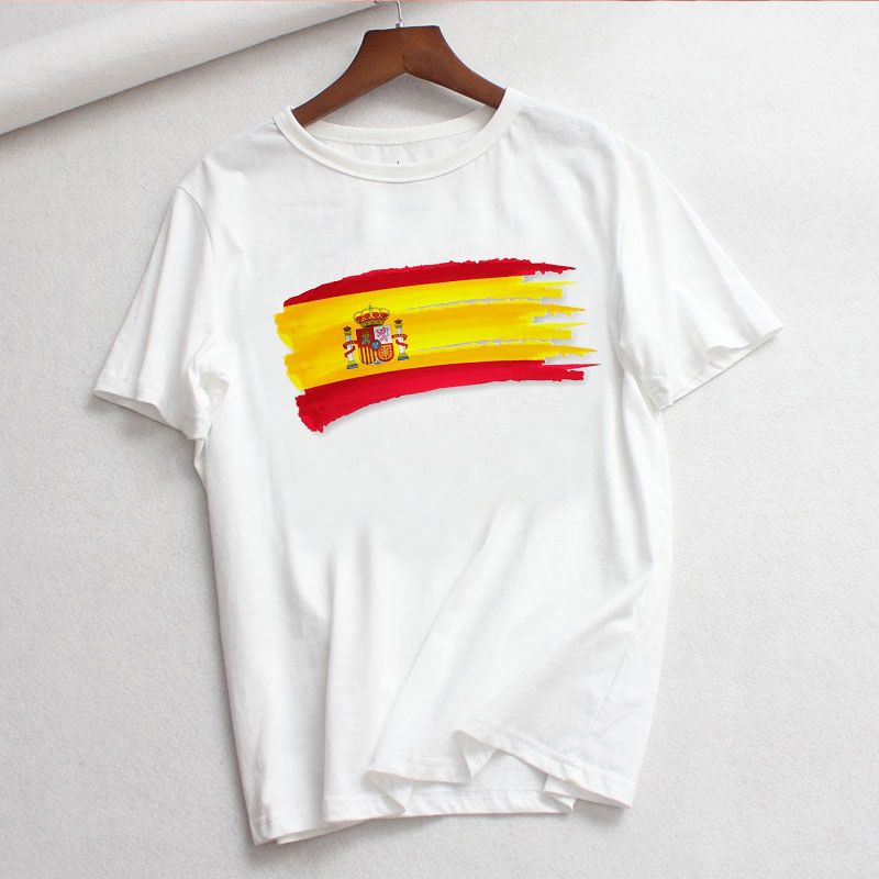 LUSLOS Plus Size Women T Shirt Summer Short Sleeve Casual White Tshirt Spain National Day Pritned Female O-neck Tee Tops Clothes