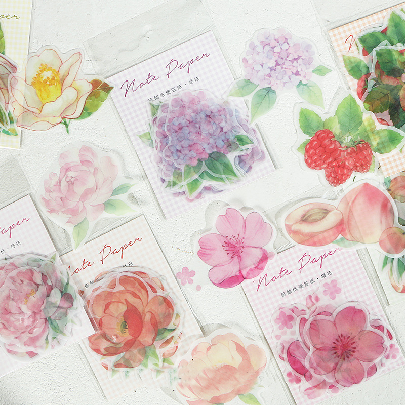 Mohamm  Flowers And Fruits Series Sulfuric Acid Paper Post-it Notes Notebook Message Can Remember Post-It Note 9.