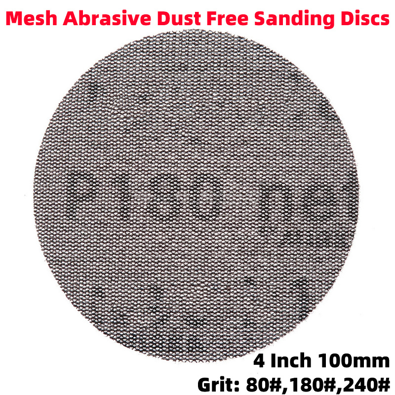 1Pcs 4 Inch 100MM Dust-free Net Sanding Discs Sandpaper Disc Hook & Loop Emery Mesh Abrasive Anti-blocking Auto Repair