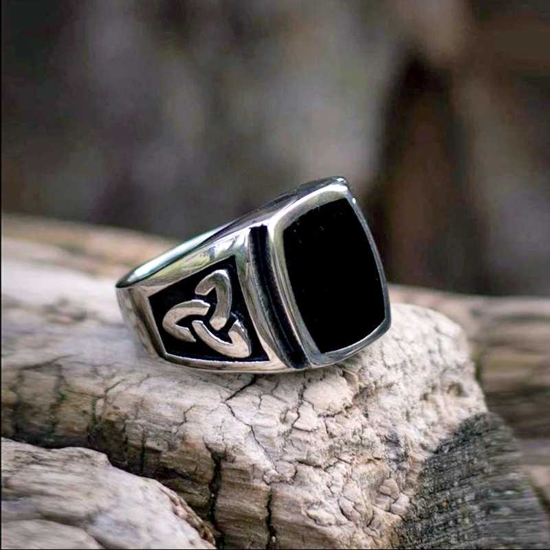 באייר 316L נירוסטה נורדי ויקינגים הקלטי ic קשר שחור צבע באיכות גבוהה אופנה סיטונאי טבעת תכשיטי LR037