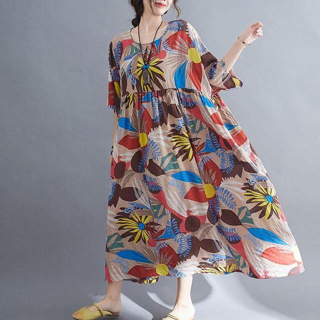 Plus Size Summer Beach Dress Women Floral Casual Oversized Ladies Dresses 4XL 5XL 6XL Vestidos Robe Femme Holiday Dress 2021 New 4